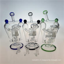 Double Recycler Hookah Glass Smoking Pipe avec Honeycomb Perc (ES-GB-392)